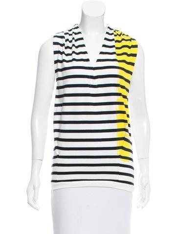 Balenciaga Striped Sleeveless Top None