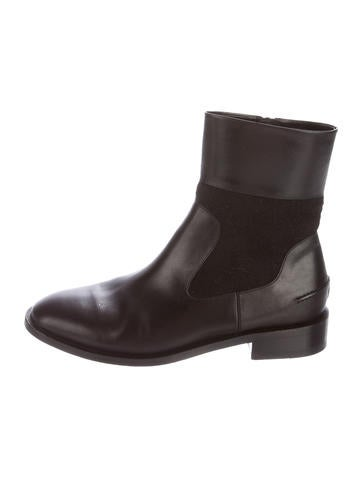 Balenciaga Wool-Accented Leather Ankle Boots None