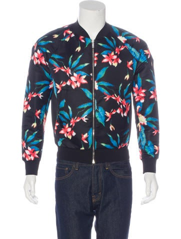 Balenciaga Floral Satin Bomber Jacket None