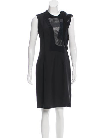Balenciaga Leather-Accented Sleeveless Dress None