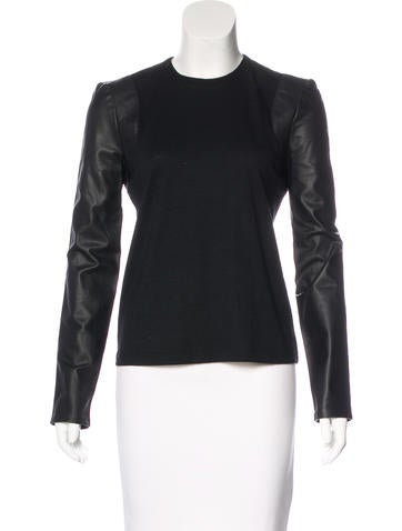 Balenciaga Leather-Accented Virgin Wool Top w/ Tags None