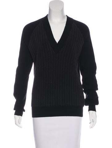 Balenciaga Paneled V-Neck Sweater None