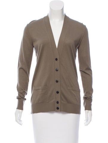 Balenciaga Sheer-Paneled Long Sleeve Cardigan None