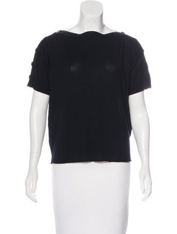 Balenciaga Three-Quarter Sleeve Button-Accented Top None