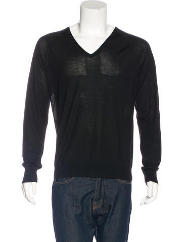 Balenciaga Wool-Blend V-Neck Sweater None