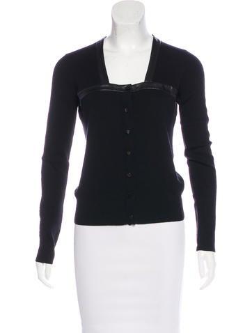Balenciaga Leather-Trimmed Wool Cardigan None