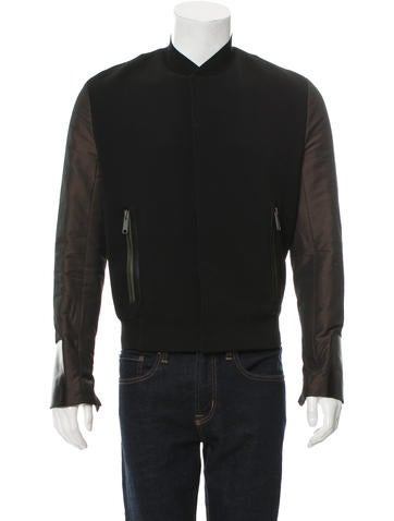 Balenciaga Leather-Trimmed Bomber Jacket None