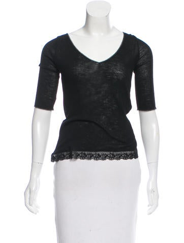 Balenciaga Wool Lace-Trimmed Top w/ Tags None