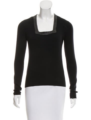 Balenciaga Wool Leather-Trimmed Top None