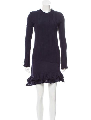 Balenciaga Wool Rib Knit Dress None