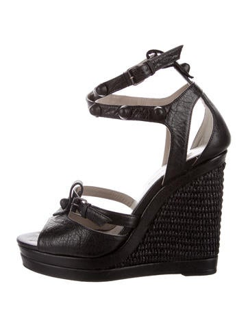 Balenciaga Leather Platform Wedges None