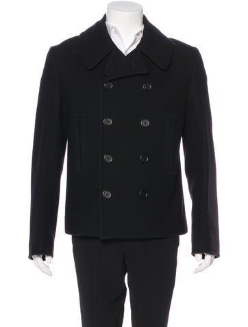 Balenciaga Double-Breasted Wool Peacoat None