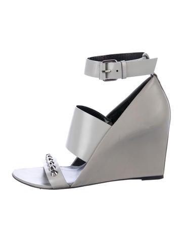 Balenciaga Leather Wedge Sandals None