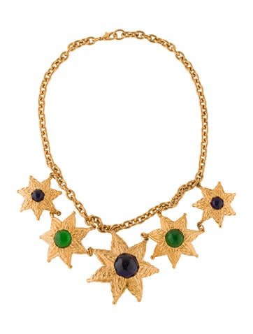 Balenciaga Glass Flower Collar Necklace None