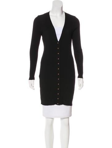 Balenciaga Long Sleeve Rib Knit Cardigan None