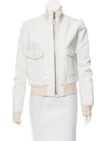 Balenciaga Leather Bomber Jacket None