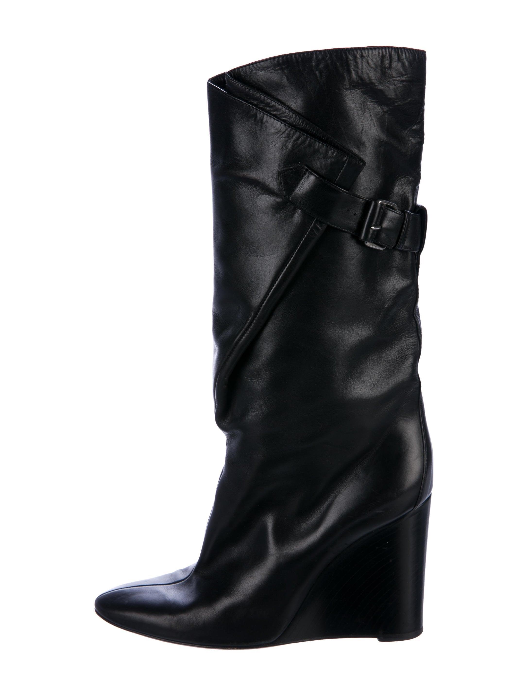 Balenciaga Leather Mid-Calf Wedge Boots sale outlet clearance amazon pSYa3tU6