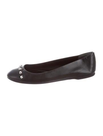 Balenciaga Leather Studded Flats None