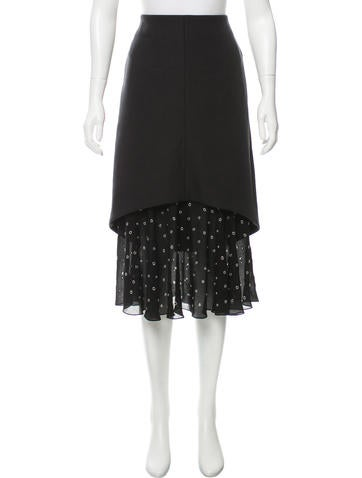Balenciaga Grommet-Accented Wool Skirt None