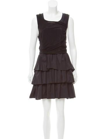 Balenciaga Sleeveless Tiered Dress None