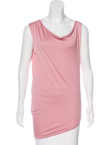 Balenciaga Silk Asymmetrical Sleeveless Top None
