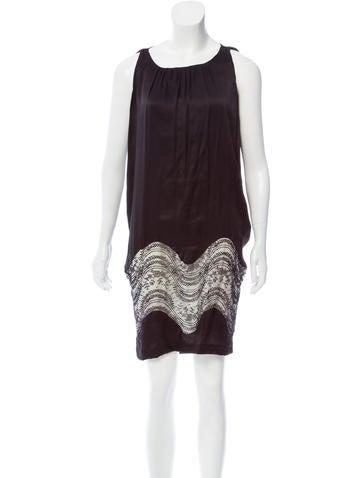 Balenciaga Lace-trimmed Silk Dress None