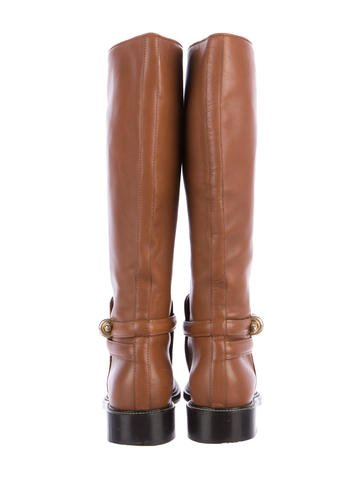 Balenciaga Leather Round-Toe Knee-High Boots sale best cfr2hhx