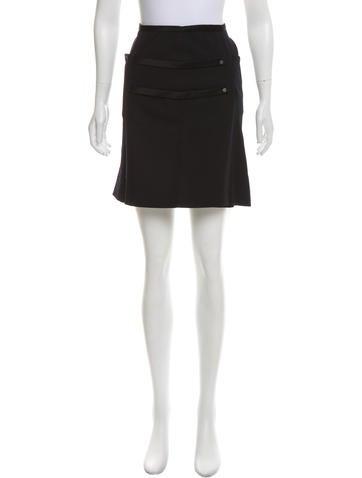 Balenciaga Silk-Trimmed Wool Skirt None