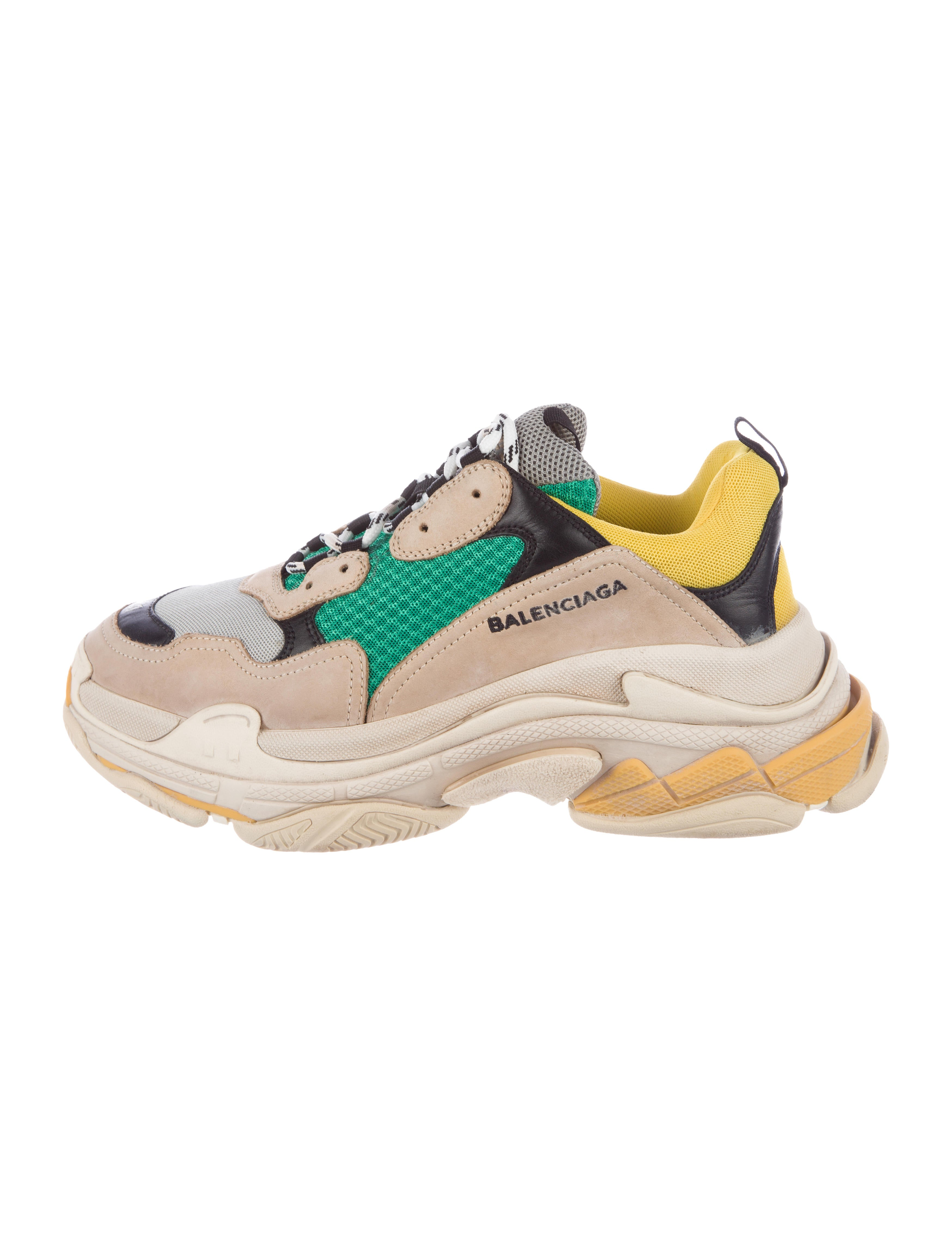 BALENCIAGA Triple S Sneakers in White, Blue and Pink