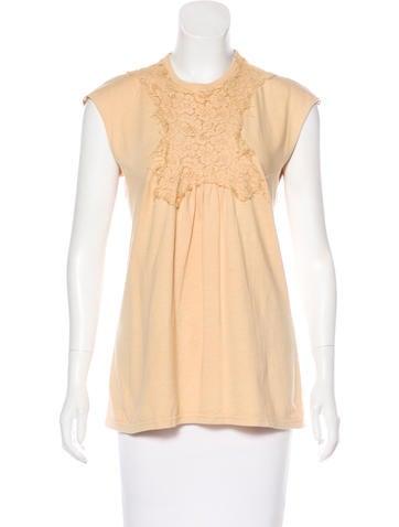 Balenciaga Lace-Trimmed Sleeveless Top None