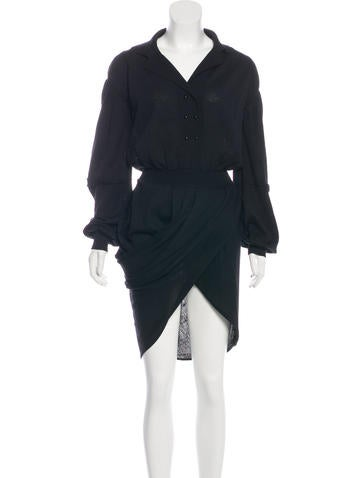 Balenciaga Wool Midi Dress None
