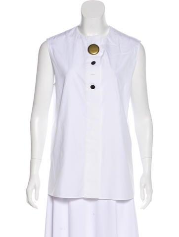 Balenciaga Sleeveless Button-Up Top None