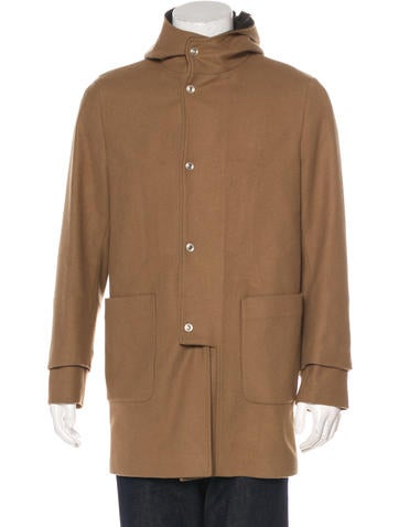 Balenciaga Wool Leather-Trimmed Coat None
