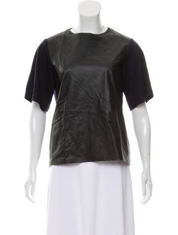 Balenciaga Leather-Paneled Wool Top None