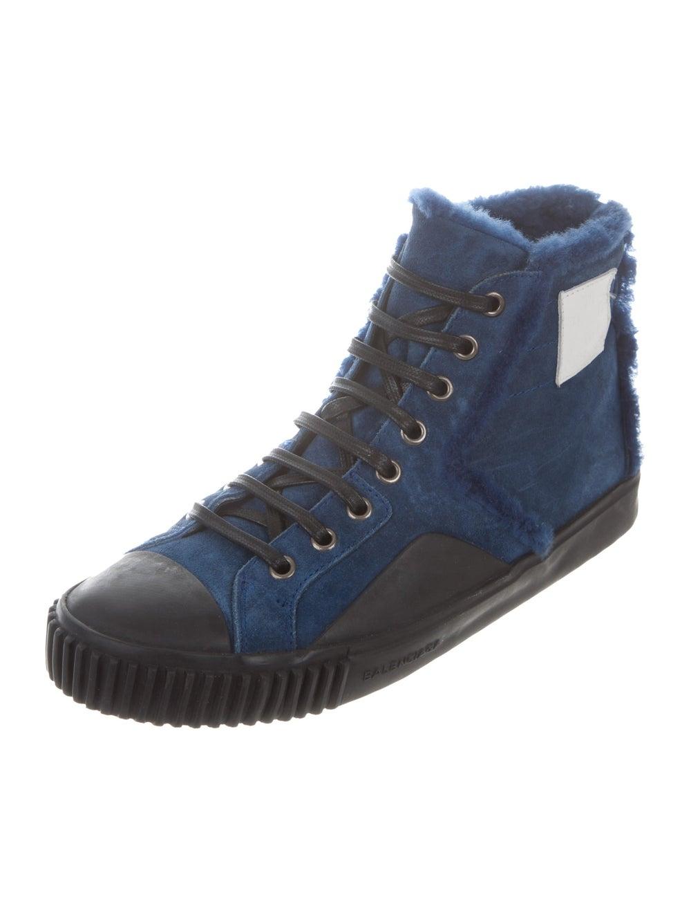 Balenciaga Cap-Toe Shearling-Trimmed Sneakers bla… - image 2