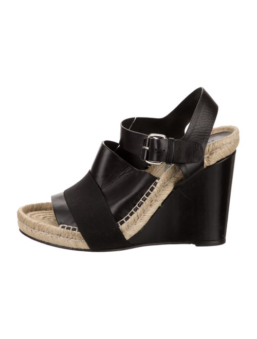 Balenciaga Leather Wedge Sandals Black