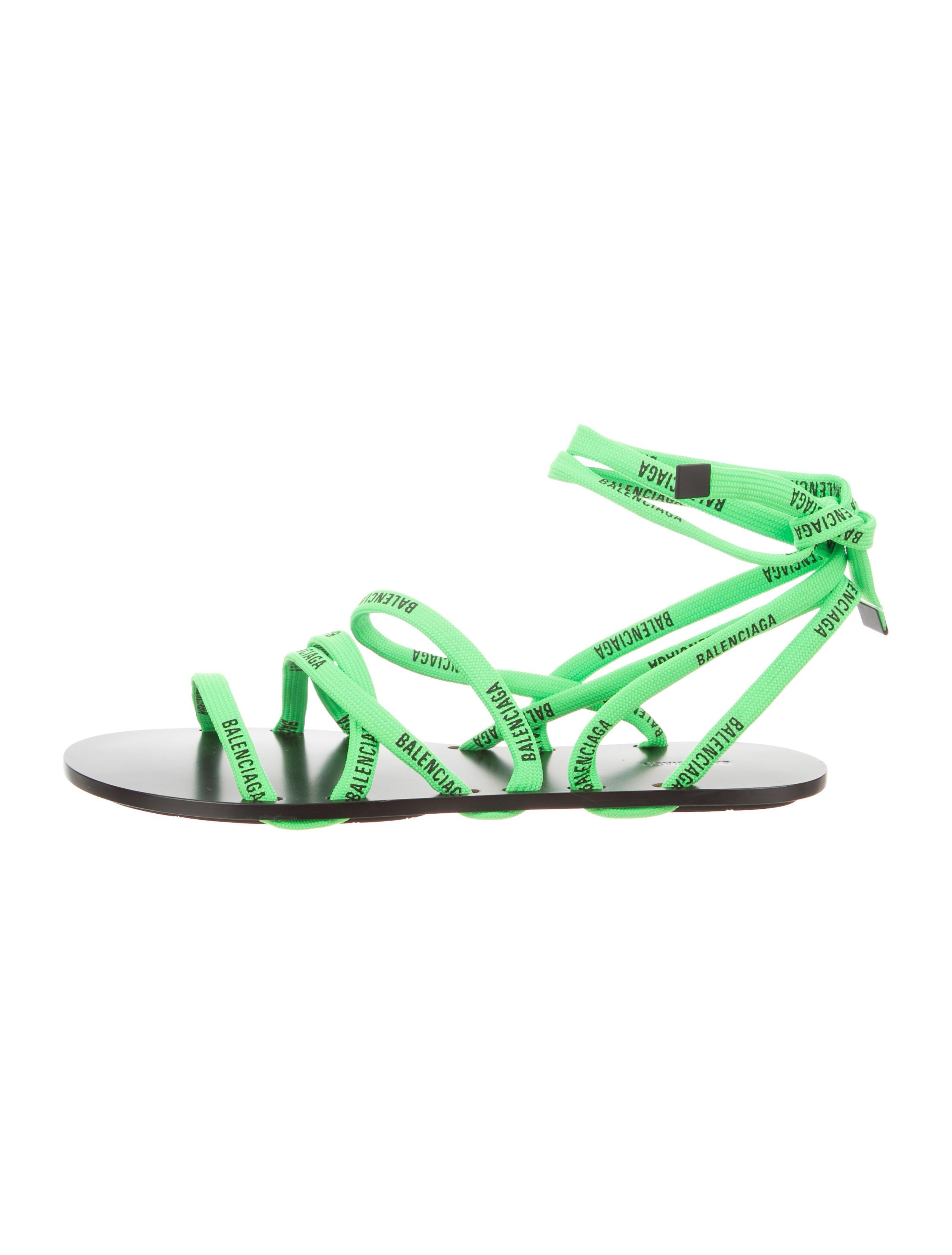Lace Flat Sandals - Shoes