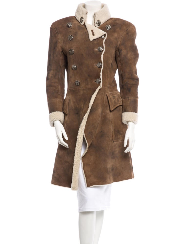 Balmain Shearling Military Coat - Clothing - BAM20366 | The RealReal