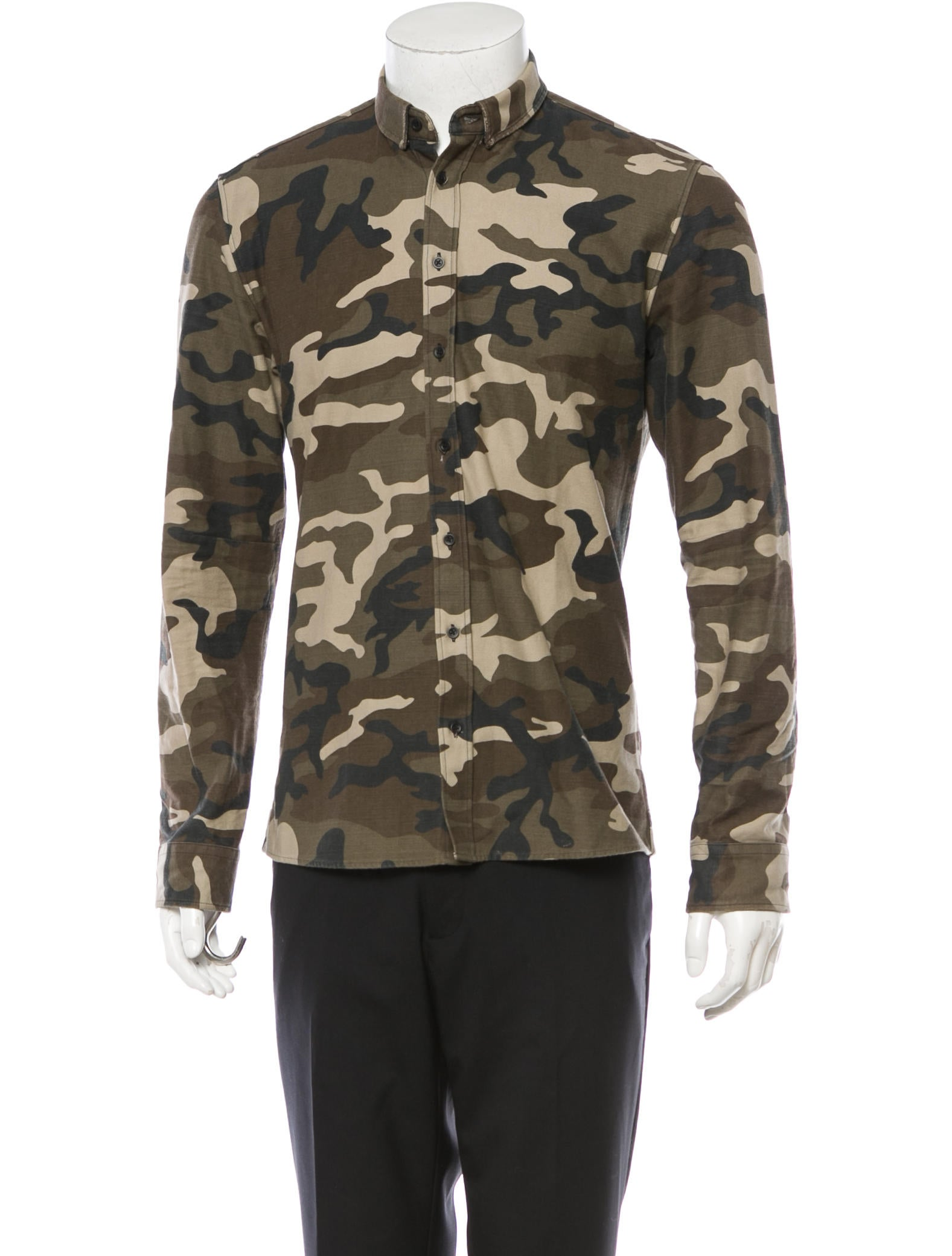Balmain Camouflage Button Up Shirt Clothing Bam21491
