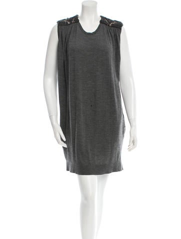 Balmain Sleeveless Knit-Trimmed Dress None