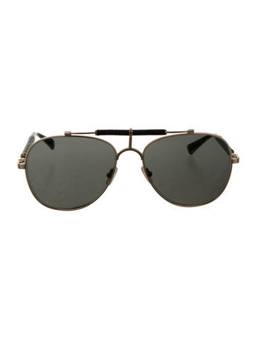 Leather-Accented Aviator Sunglasses
