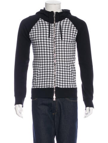Balmain Houndstooth Hooded Sweater None