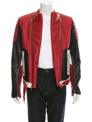 Tri-Color Leather Biker Jacket