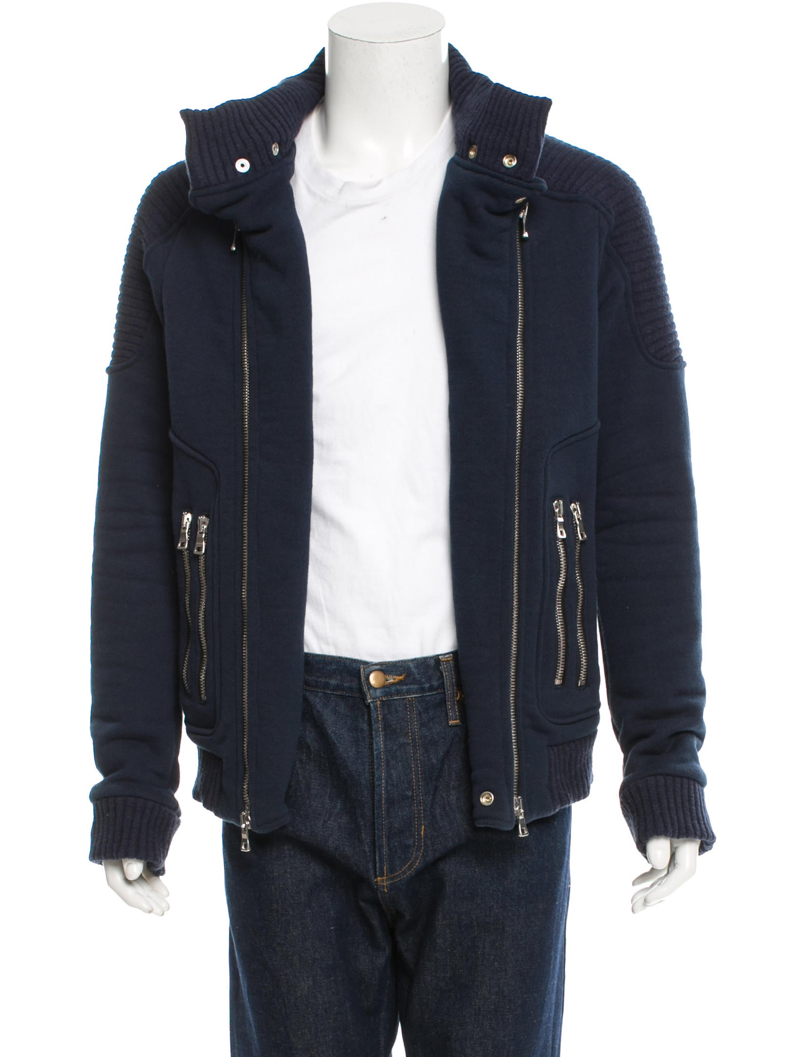 Balmain Moto Knit Jacket - Clothing - BAM22749 | The RealReal