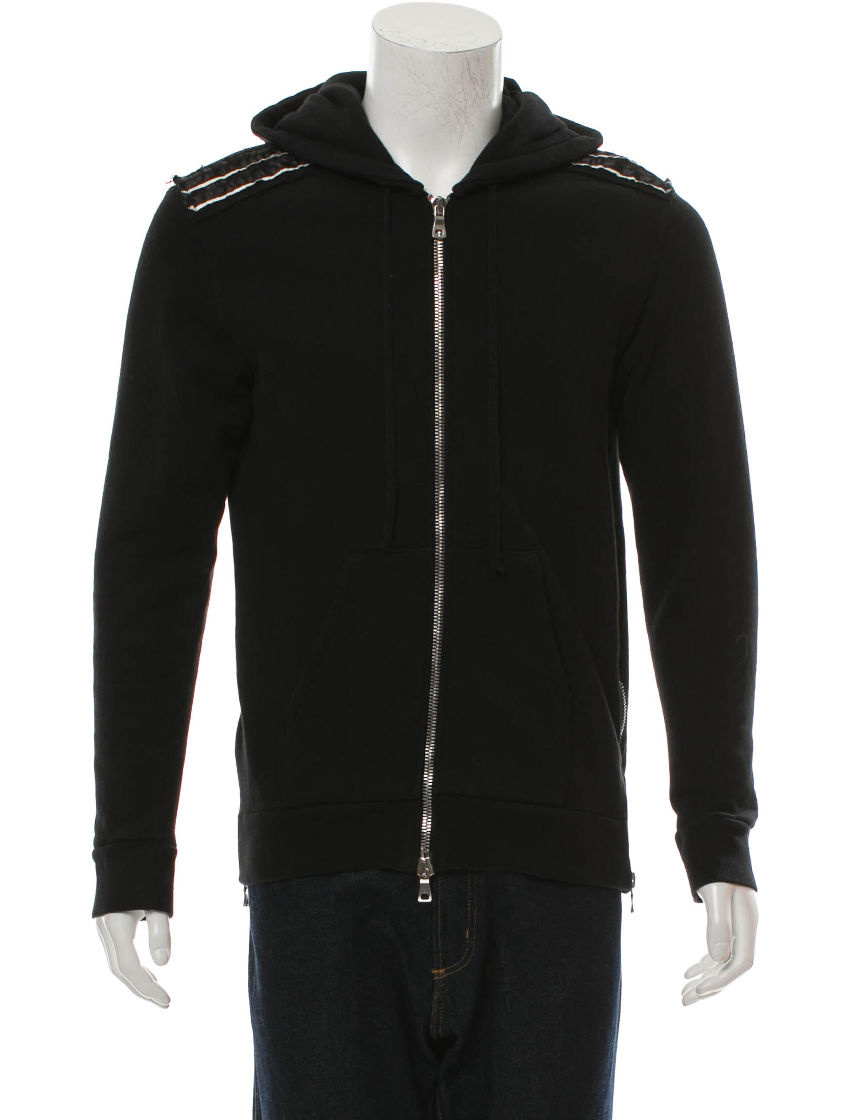 Balmain Woven Zip-Up Hoodie - Clothing - BAM22825 | The RealReal