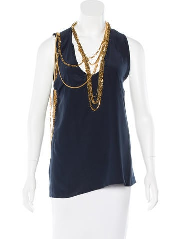 Balmain Chain-Link Silk Top