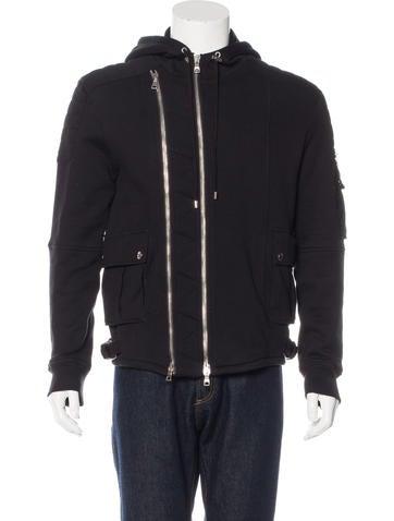 Balmain Hooded Biker Sweatshirt None