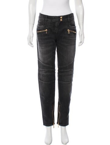 Moto Straight-Leg Jeans w/ Tags