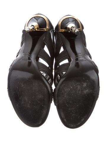 Peep-Toe Cage Sandals