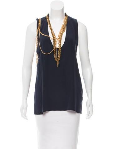 Balmain Embellished Silk Top w/ Tags None
